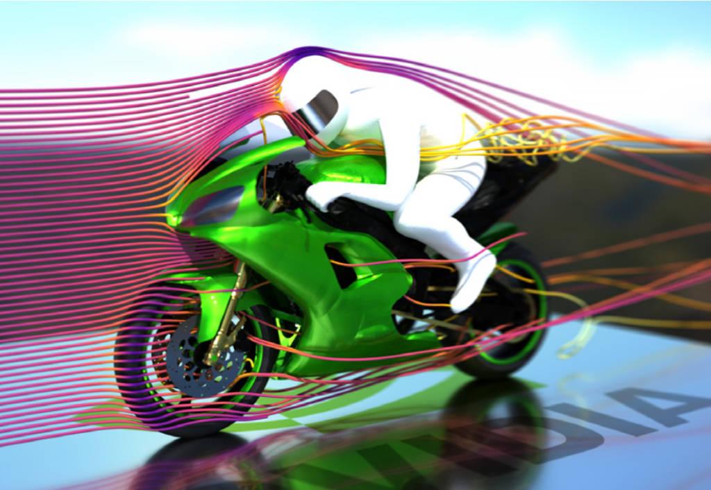 Pathtraced visualization of OpenFOAM motorbike – NVIDIA