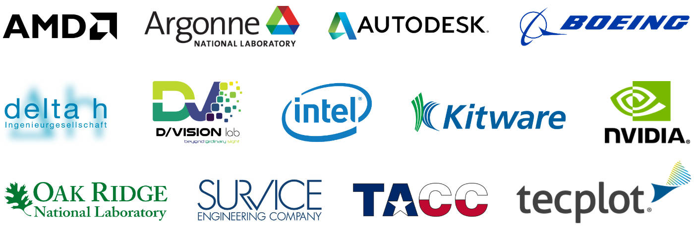 Industry support from: AMD, Argonne, Autodesk, Boeing, Delta h, DVision lab, Intel, Kitware, NVIDIA, Oak Ridge, SURVICE, RACC and Tecplot