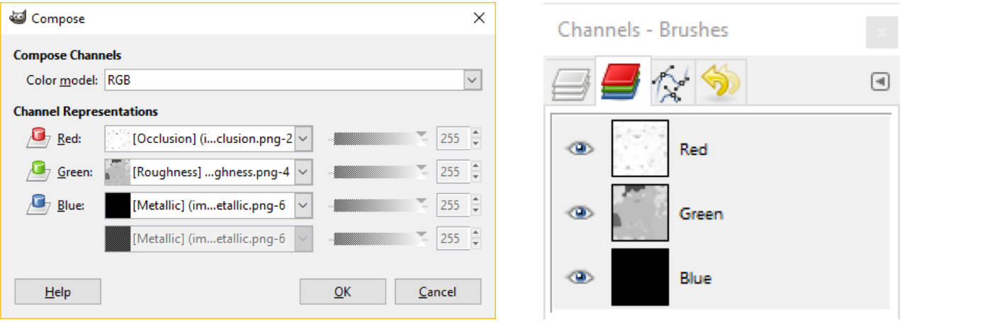 Gimp - layers and channel options